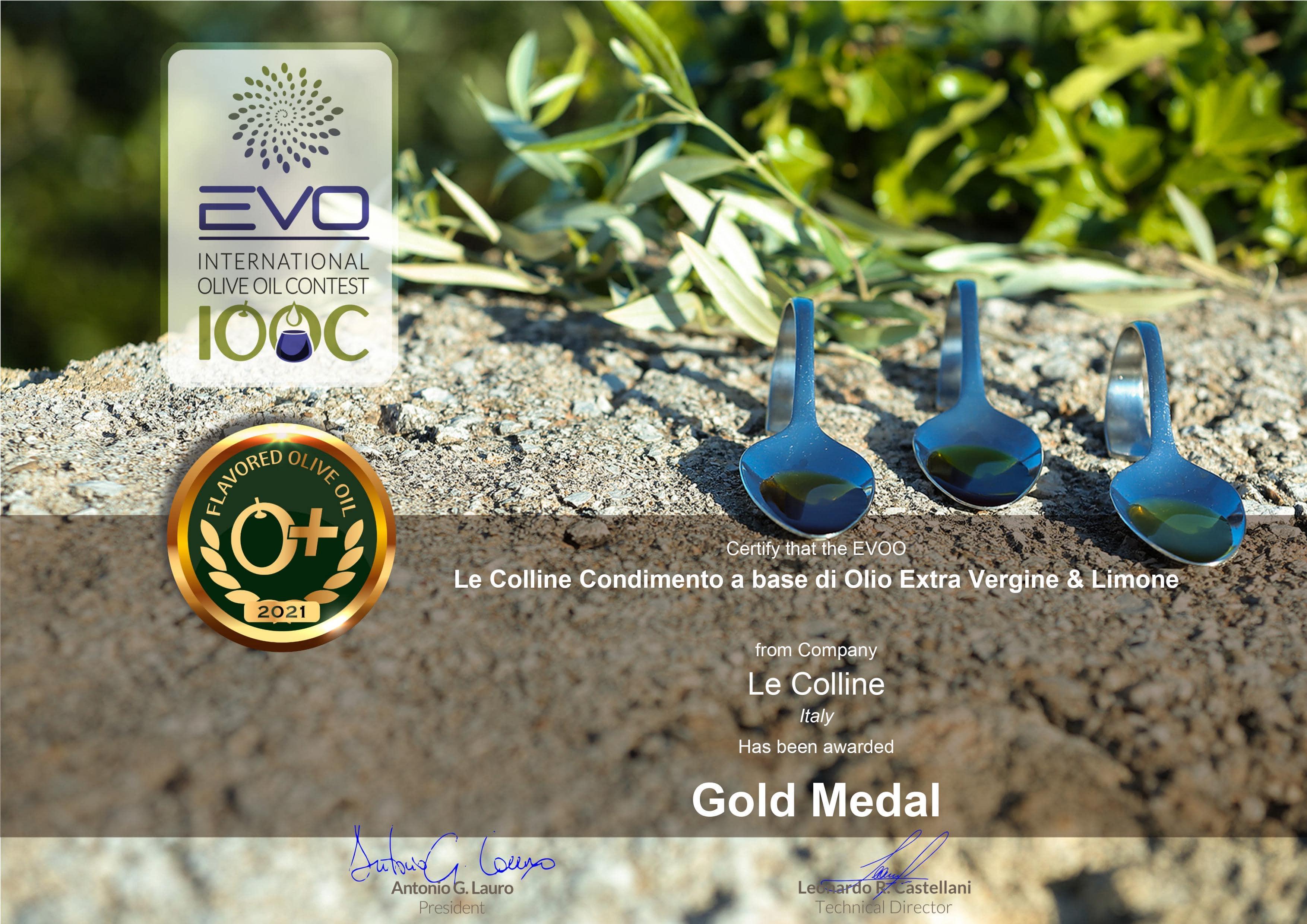 Le-Colline-Condimento-a-base-di-Olio-Exra-Vergine-Limone-Gold-Medal-certificate-2021-2